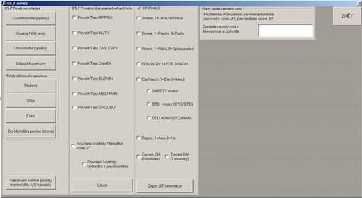 Servisní obrazovka testeru dveřních modulů PHA